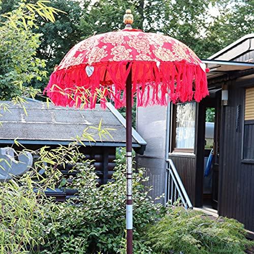 Oriental Galerie Bali Sonnenschirm Balinesischer Schirm Garten Baumwolle Sonnenschutz Handarbeit Retro Vintage Dekoschirm 2-teilig ca. 90 cm Rot-Gold Modell Singapur