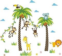 Halloluck - Adhesivo decorativo para pared con diseño de mono y jirafa de koala y palmeras de coco