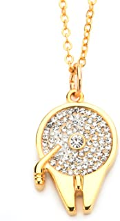 10kt Gold Millennium Falcon in Genuine Crystals Pendant with Chain Necklace (SALES1SWMD)