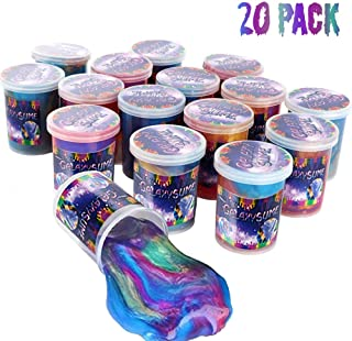 EASYCITY Marbled Galaxy Slime, 20Pack Colorful Sludgy Gooey Fidget Kit for Sensory and Tactile Stimulation, Stress Relief, Prize, Party Favor, Educational Game - Kids, Boys, Girls