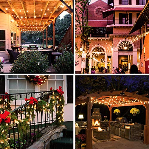 2 Pack 100 LED Globe String Lights Outdoor Battery Operated, 2 x 49 Ft Fairy String Lights Waterproof with Remote Control, 8 Modes Decoration for Indoor Birthday Party Wedding Christmas, Warm White