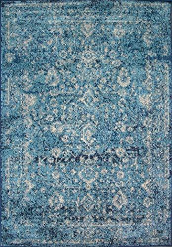 The Rug House Tapis Bleu Canard Traditionnel Oriental Tapis Résistant Poils Courts Effet Lazuré Salon Salle de Séjour Chambre Entrée 160cm x 230cm