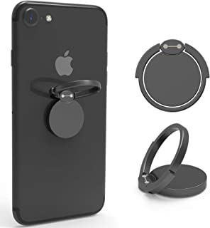 VELAGOL Finger Ring Stand 360° Rotation Thin Universal Phone Ring Holder Kickstand Compatible with iPhone Xs/Xs MAX/X/8/8 Plus/7/7 Plus, Samsung Galaxy and Other Smartphones (Matte Black)