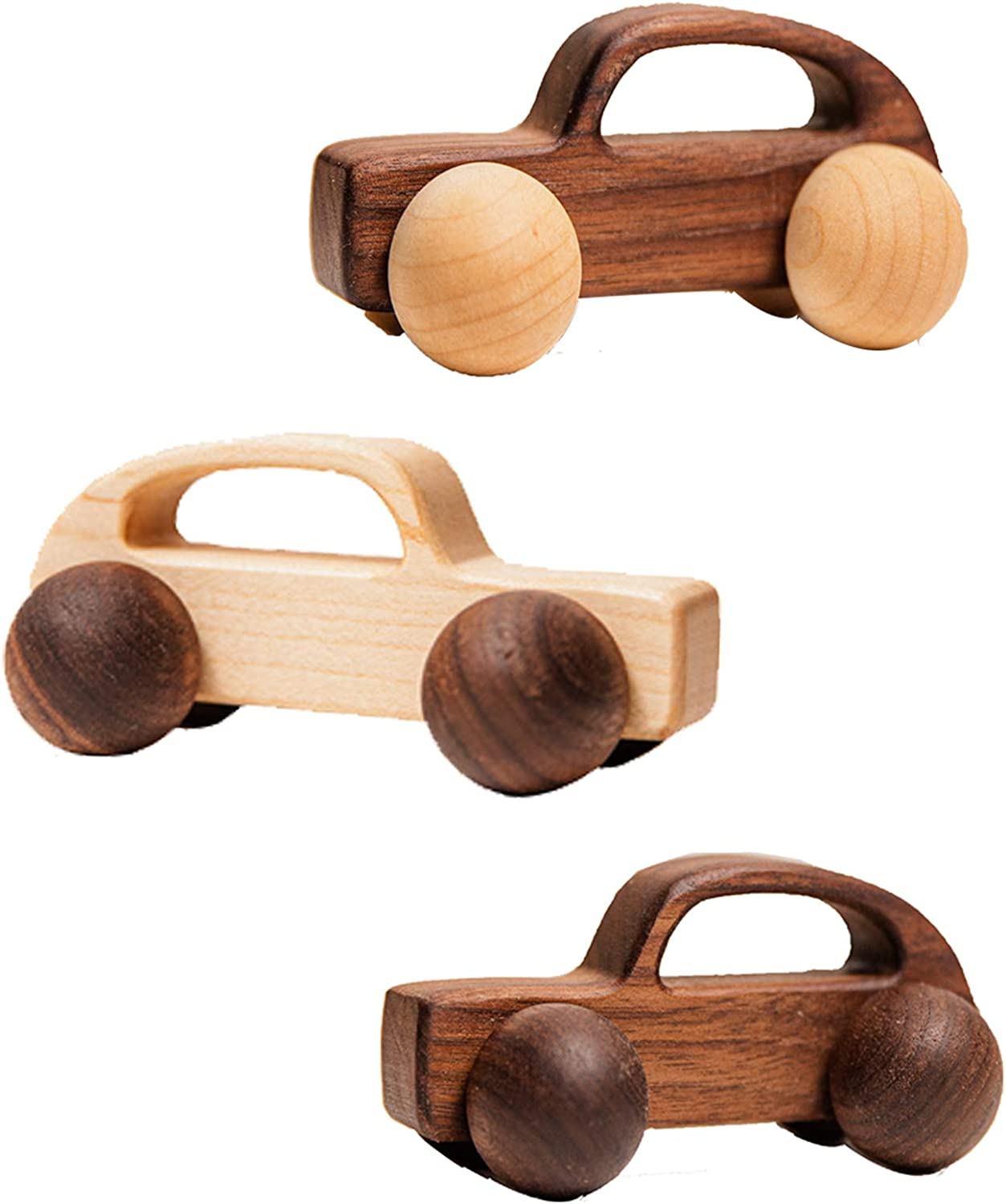 Promise Babe 2pc Wooden Rattle Baby Push Car Toy Organic Beech Car for Toddler Montessori Intelligence Toys Newborn Toys Gift