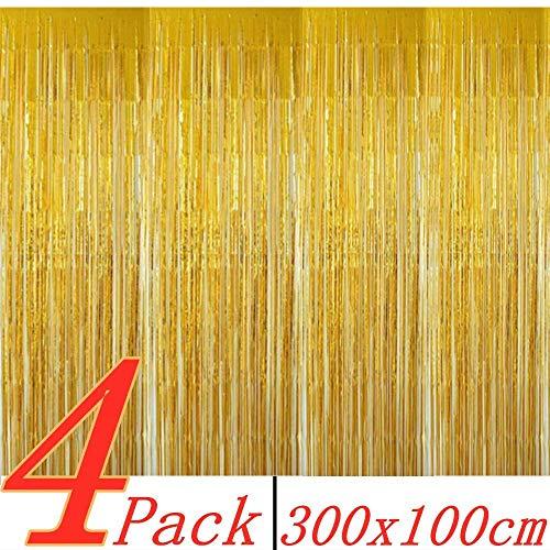 BangShou Metallische Lametta Vorhänge 4 Pack Folie Vorhang Metallic Tinsel Vorhänge mit Größe von 1m x 3m Hintergrund Fringe Vorhänge für Weihnachten, Halloween, Geburtstag, Hochzeit (Gold)