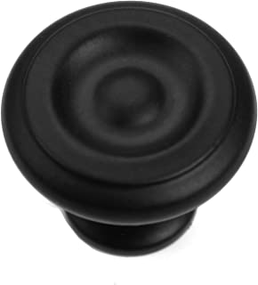 "Iron Valley - 1-1/4"" Round Button Cabinet Knob - Pack of (5) - Solid Cast Iron (5)"