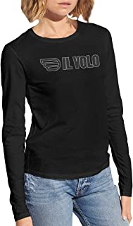 Il Volo Comfortable Women's Long Sleeve Cotton Tee Shirt £¨Black £