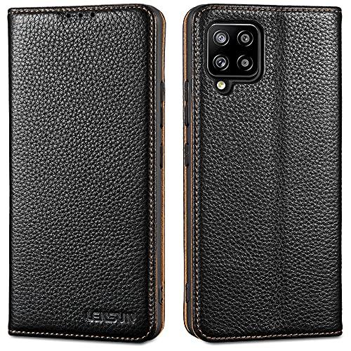 LENSUN Echtleder Hülle für Samsung Galaxy A42, Leder Handyhülle mit Magnetverschluss Lederhülle Handytasche für Samsung Galaxy A42 5G(6,6 Zoll) – Schwarz(A42-DC-BK)