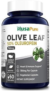Olive Leaf Extract 750 mg 50% Oleuropein (Non-GMO & Gluten-Free) - Vegan - Super Strength - Immune Support, Cardiovascular...