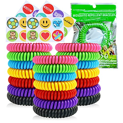 Mosquito Repellent Bracelets, 21 Pack Individually Wrapped Waterproof Insect Bug Repellent Wristbands for Kids Adults Outdoor Camping Fishing Traveling