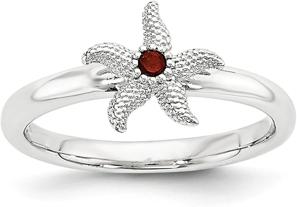 Jewels By Lux Manufacturer direct delivery Sterling Year-end annual account Silver Starf Expressions Garnet Stackable