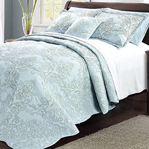 Home Soft Things Serenta Damask 4 Piece Bedspread Set, King, Blue