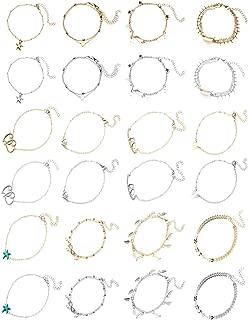 Ankle Bracelets for Women, Anklets for Women Girls Silver Gold Two Style Ankle Bracelets Set Adjustable