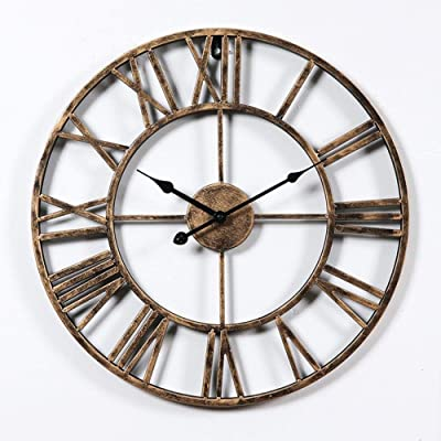 Shuqicc New Update 3D Large Metal Wall Clocks Farmhouse Decor Bronze Round Home Improvement (Color