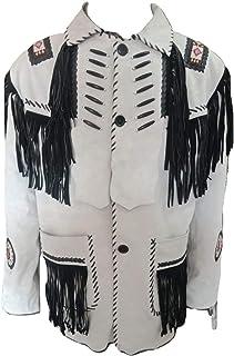 7984c9e39bfc LEATHERAY Men s Fashion Western Cowboy Fringe   Beaded Jacket Cow Leather  Ivory ...