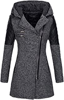 Howely Women Baggy Trench Hooded Zip Up Fall Winter Overcoat Outwear Jacket