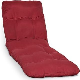 Beautissu Cojín colchón Flair RL Acolchado para Tumbona de jardín y Playa 190x60x8cm Copos de gomaespuma - Rojo