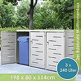 Juskys Edelstahl Mülltonnenbox Arel | 3 Mülltonnen je 240 Liter I Schiebedach & verschließbare Türen I Metall Mülltonnenverkleidung Müllbox