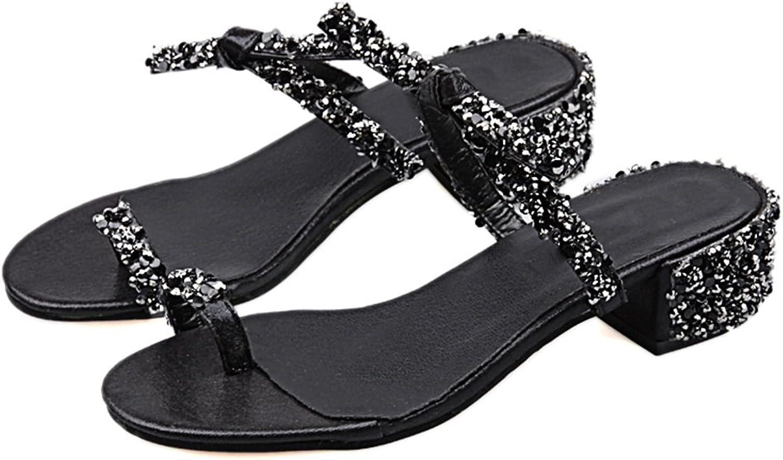 Flip Flops Slip-On Sandal for Ladies Woman Girls Stylish Sparkly Toe-Loop Block Heel Slipper in Summer for Beach Walk Glitter shoes with Spotlight Diamante Bow - 4cm Heel Height