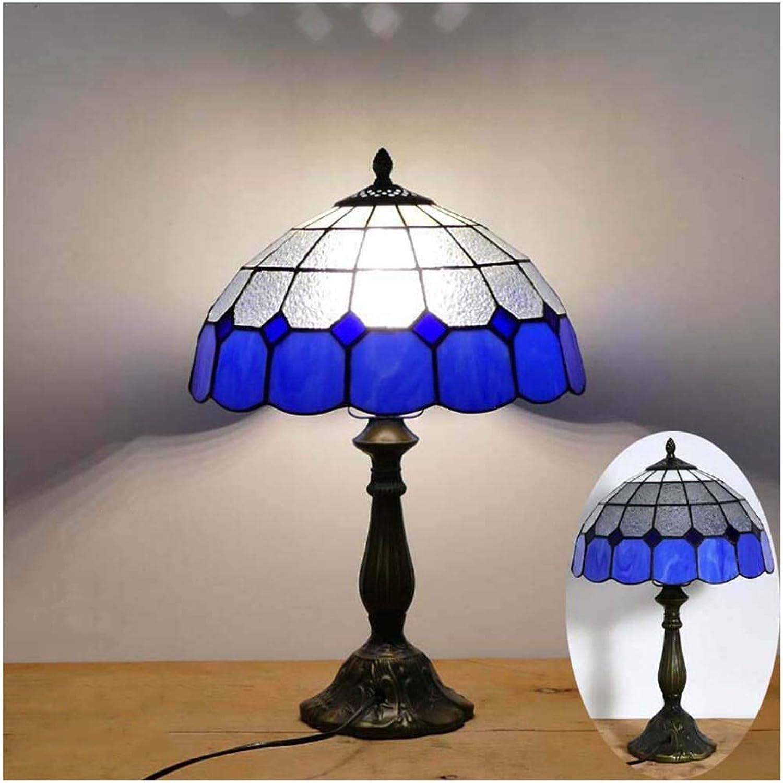 CJW Idyllische mediterrane blaue Nachttischlampe mit Karomuster - Restaurant Bar Café 30 cm (12 Zoll)