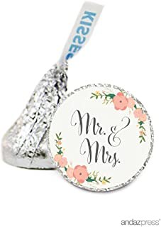 Andaz Press Chocolate Drop Labels Stickers, Wedding, Mr. & Mrs. Floral Roses, 216-Pack, for Hershey's Kisses Party Favors, Gifts, Decorations