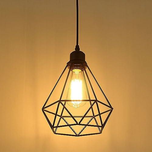 Industriel Suspension Luminaire Rétro Lustre Plafonnier Vintage Noir Lampe Cage Éclairage de Plafond Abat-jour en Mét...