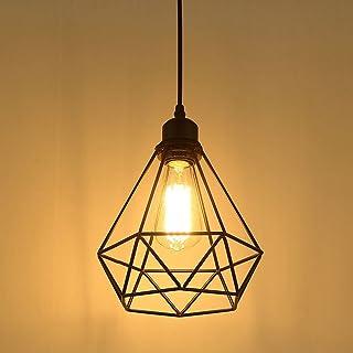 Industriel Suspension Luminaire Rétro Lustre Plafonnier Vintage Noir Lampe Cage Éclairage de Plafond Abat-jour en Métal po...