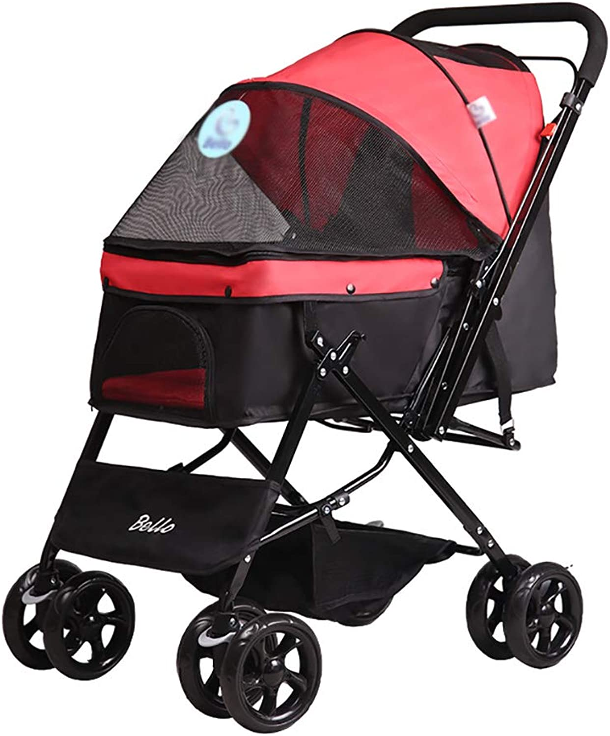 MMM@ Pet Stroller, Foldable Fourwheeled Trolley Suspension Commutation Cat and Dog Cart Large Travel Supplies trolley (color   RED)