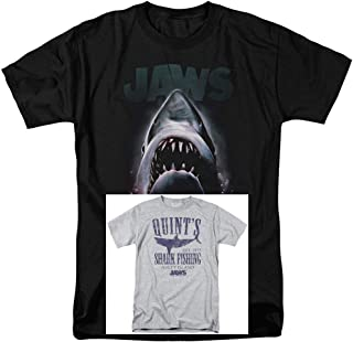 2 Pack Combo Jaws Movie & Quints Classic Retro Vintage Men's Adult Graphic T-Shirts