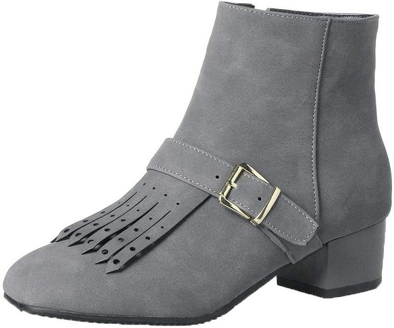 AllhqFashion Women's Low-Heels Pu Low-Top Solid Zipper Boots, FBUXD119951