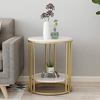 Table d'appoint Table de Chevet Bout de canapé Canapé Table marbre nordique Side Table ronde Petite Table de bout avec éta...