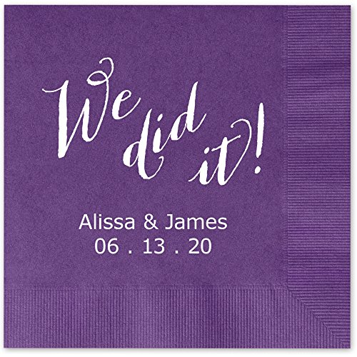 We Did It Beverage Cocktail Napkins Violet Purple Napkins with SILVER Foil - set of 100 paper napkins