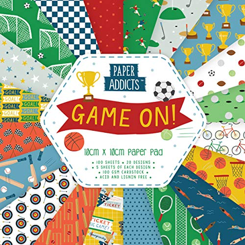 Paper Addicts PAPAD045 Game On 10cm x 10cm Paper Pad-100 Sheets-20 Designs-100GSM-Acid & Lignin Free-For Card Making, Papercraft, Scrapbooking, Die Cutting and Home Décor, MultiColor, One Size