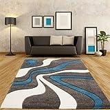 Paco Home Designer Teppich mit Konturenschnitt Modern Grau Türkis Weiss, Grösse:160x230 cm - 3