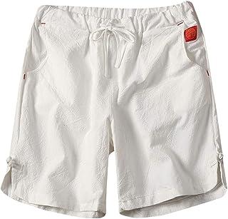 cb5ef73b9cffe Hanomes Homme Coton et Lin Pantalon de Sport Couleur Unie Grande Taille  Lace-up Shorts