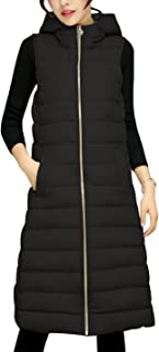 Tanming Women's Winter Cotton Padded Long Vest Coat Outerwear with Hood (X-Small, Black)