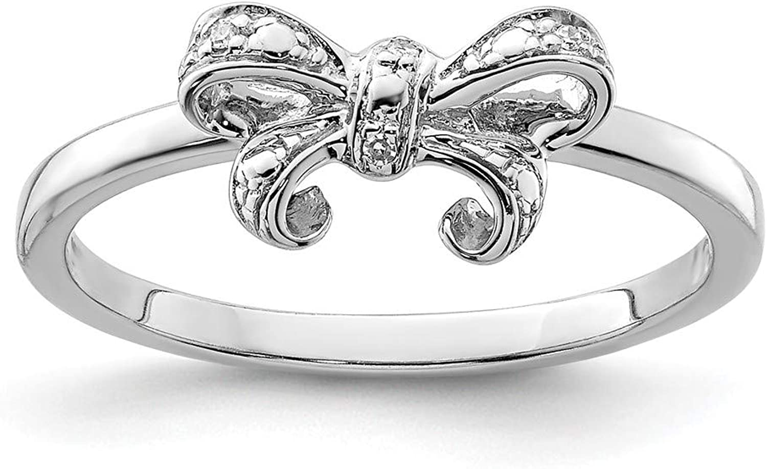 Beautiful Sterling silver 925 sterling Sterling Silver Rhodium Plated Diamond Bow Ring