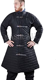 Nasir Ali Gambeson Medieval Padded Full Sleeves Armor Reenactment Larp Thick Blue Colo
