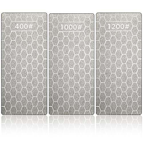 3 Pieces Diamond Sharpening Stone Diamond Plate Honing Stone Diamond Professional Bench Stone For Kitchen Sharpening Dull, Blunt Or Tired Edges, 5.9 x 2.48 Inches (400 Grit, 1000 Grit, 1200 Grit)
