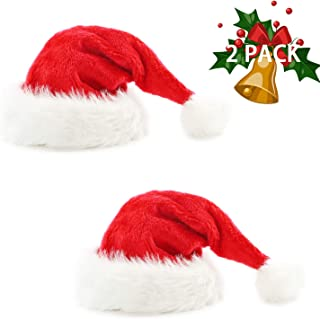 2pcs Santa Hat Velvet Christmas Hat for Unisex Adult with Plush Brim and Comfort Liner for Christmas New Year Party Decorations and Supplies Red