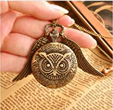 Joyplancraft Magic Owl Watch, Vintage the Owl Necklace Pocket Watch with Brass Wings,message Sender Pocket Watch