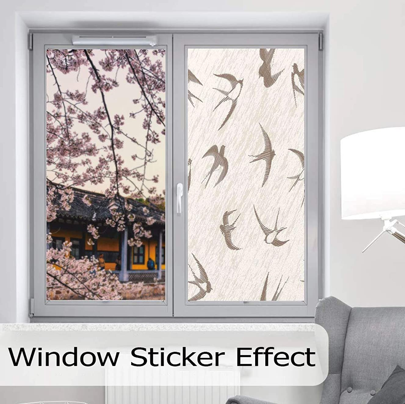 YOLIYANA Privacy Frosted Decorative Vinyl Decal Window Film,Birds,for Bathroom, Kitchen, Home, Easy to Install,Flying Bird Swallow Vintage Design Illustration Springtime Wildlife,24''x48''