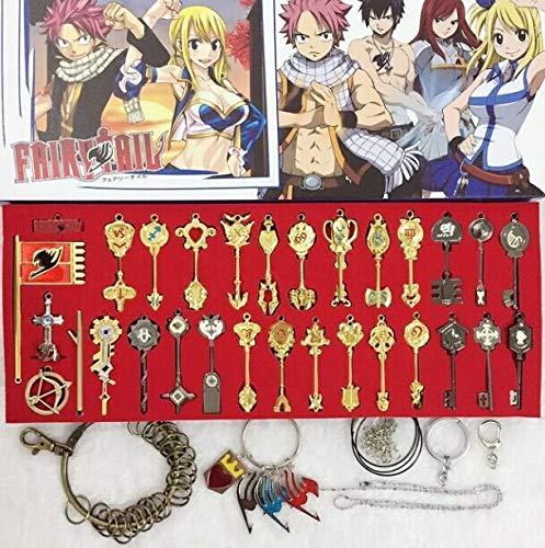 Nouveau Style 35 pièces/Ensemble Fairy Tail Lucy Cosplay Porte-clés échelle et Tatouage Rose Gratuit Signe des Accessoires de pendentifs en Or du Zodiaque