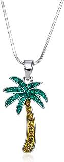 PammyJ Green Crystal Palm Tree Pendant Necklace, 17