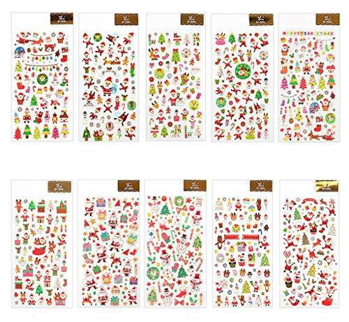 Kinteshun Christmas Scrapbook Stickers,Self-adhensive DIY Decorative Xmas Paster Decals Sticker for Scrapbooking or Card Making