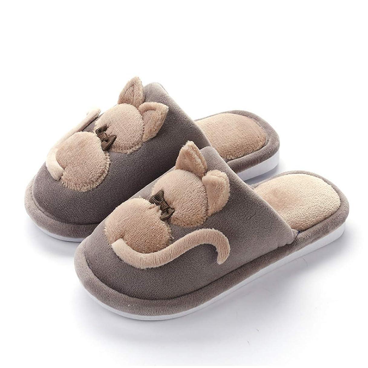 寝室アーサーコナンドイル過ちHuicai かわいい猫のプリント冬暖かい肥厚綿の子供の女性の家屋内のカジュアルスリッパ耐久性のあるソフトなソールノンスリップ子供靴