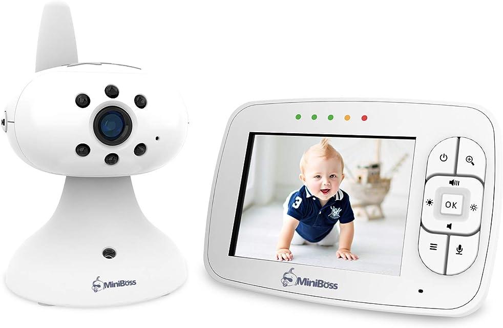 MiniBoss Vigilabebés Bebé Monitor Vídeo Cámara con 3.5 LCD Monitor de Bebé de Inalámbrico para Visión Nocturna Monitoreo de Temperatura Despertador