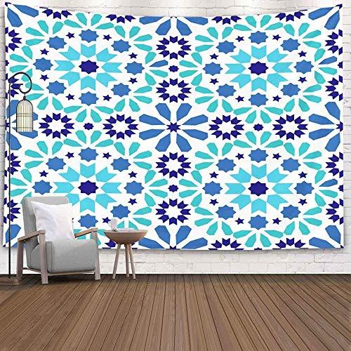 Halloween Tapestry, Snowman TapestryWinter Hanging Wall Tapices para D & Eacute; Cor Patrón de Sala de Estar Diseño de Azulejos marroquíes Fondo de Azulejos Azules y turquesas