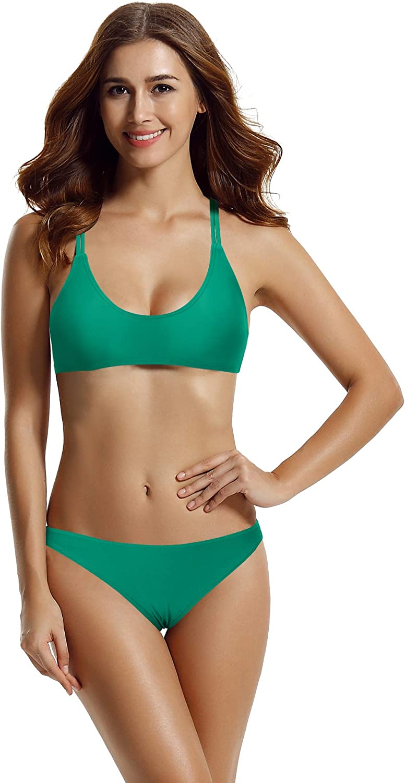 zeraca Women's Hipster Bottom Crossback Bralette Bikini Bathing Suits