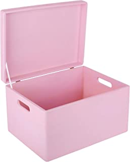 Creative Deco XXL Rosa Caja de Madera Grande para Juguetes | 40 x 30 x 24 cm | con Tapa y Asas Cofre para Decorar Almacenaje de Documentos, Objetos de Valor